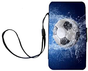 Rikki KnightTM Soccer Ball Splash Design Galaxy S4 PU Leather Wallet Type Flip Case with Magnetic Flap and Wristlet for Samsung Galaxy S4 i9500
