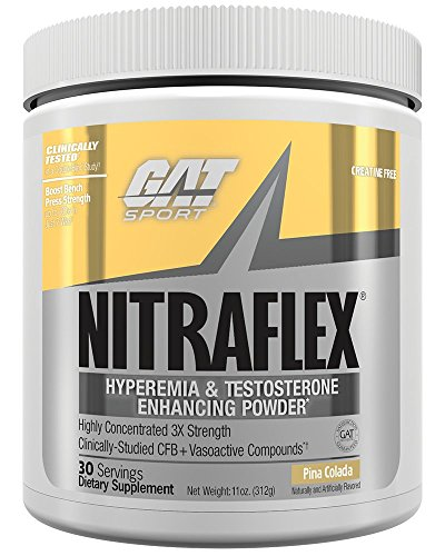 GAT Clinically Tested Nitraflex, Testosterone Enhancing Pre Workout, Pina Colada, 300 Gram