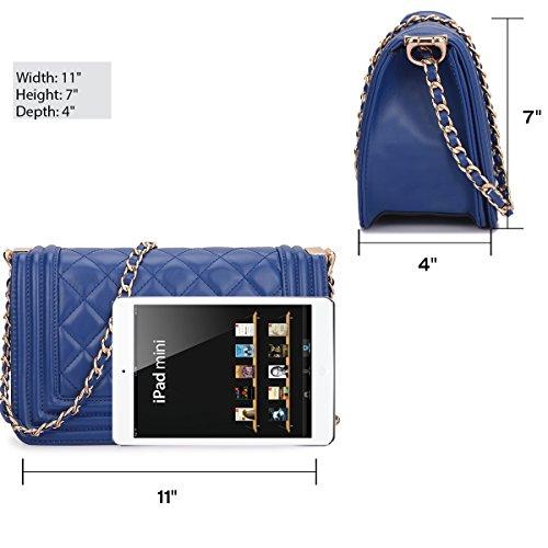 2457 Designer w Quilted Shoulder Satchel Lock Handbags Bags Women's Larger Size Chain Twist Dasein Bags Blue Crossbody Strap AagFqw