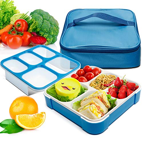 - Bento Box, Fun life lunch box, Eco-Friendly, BPA Free, 5 Separated Compartments,Leakproof Container & Airtight Lid, For Healthy, Dry & Liquid Food, Portion Control, Meal Prep, Adults & Kids (blue)