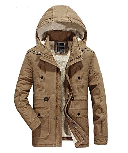ZOPPO Men's Casual Field Winter Coat Thicken Cotton Parka Jacket With Removable Hood