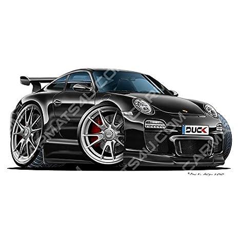 Porsche 911 GT3 – Vinilo adhesivo decorativo para pared – negro, negro, medium (