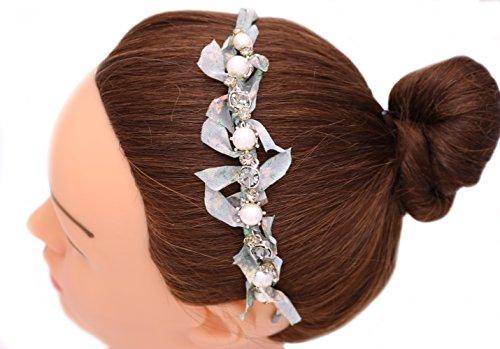 iHome Fusion Wavy Headband With Round Cut Swarovski Crystal Pearl Floral Printed Chiffon Headband Hair Band Hair Hoop Hairdress (Montana - Round Blue 031
