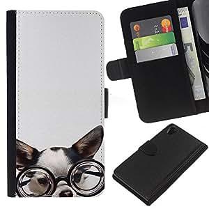 Planetar® Modelo colorido cuero carpeta tirón caso cubierta piel Holster Funda protección Sony Xperia Z2 D6502 ( Chihuahua Glasses Dog Puppy Smart )