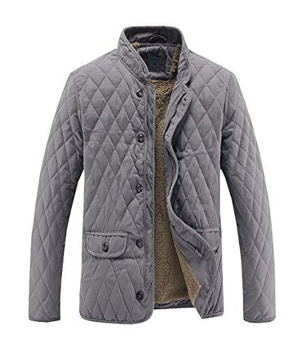 Plush Warm Jacket (MADHERO Men's Warm Stylish Cotton Coat Stand Collar Plush Lining Winter Jacket (Size XL (Chest 50