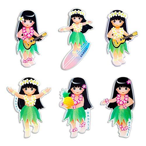 Morcart Refrigerator Magnets Cartoon Cute Little Girls Magnets 6-Sets 3D Pattern Suitable For Kichen Menu Message Board Office Student Locker Whiteboard Hawaii Beach Holiday Gifts -