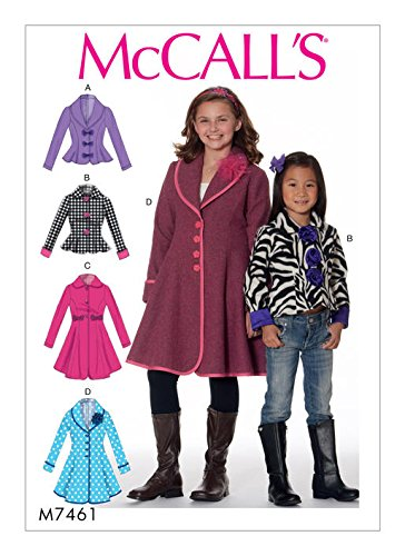 (MCCALLS M7461 ( SIZE 7-14) Children's/Girls' Peter Pan or Shawl Collar Jackets and Coats SEWING PATTERN)