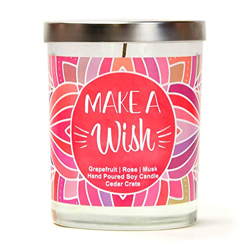 (Make A Wish | Grapefruit, Rose, Musk | Luxury Scented Soy Candles | 10 Oz. Clear Jar Candle | Made in The USA | Decorative Aromatherapy | Happy Birthday Gifts for Women | Happy Birthday Candles)
