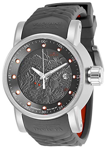 Invicta Men's S1 Rally Stainless Steel Automatic-self-Wind Watch with Silicone Strap, Grey, 24 (Model: 28172)