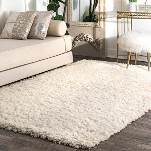 (Hand Tufted Wool Solid Shag Area Rug)