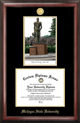 michigan state university spartan gold embossed diploma frame with campus images lithograph - Michigan State Diploma Frame