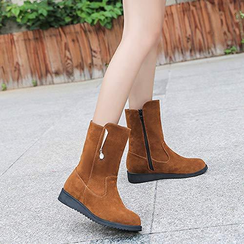 Tube Bottes Boot En Femmes Martin Brown Chaussures Plat Zipper Holywin Moyen Strass Bottillons Daim WfpqUq