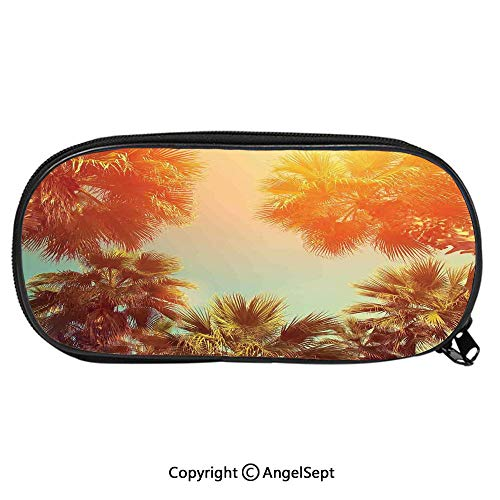 Kid School Pencil BagTrees Sunlights Tranquility in Tropical Nature Landscape at Summer Theme Cute Printing Pen Case Adult Office Accessories Pencil HoldersOrange Green