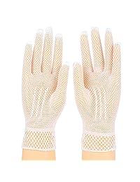 2 Pairs Women Wrist Length Mesh Bridal Party Evening Dancing Gloves (White/Black)
