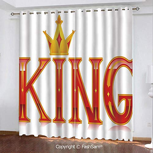 Printed Blackout Curtains Royal King Quote in Capital Lettering with Crown as Dot Vivid Slogan Like Art Print Darkening Panel for Bedroom(108