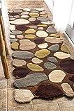 nuLOOM Contemporary Handmade Wool Pebbles Cobblestone Runner Area Rugs, 2' 6'' x 8', Brown