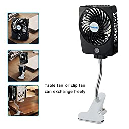 Niceshop Mini Handheld Square Electrical Portable Rechargeable Fan 3 Speeds Desktop Clip-on Fan Summer Cooler Fan Power Bank Fan LED Lights with Clip Base Battery and USB Cable (Black)