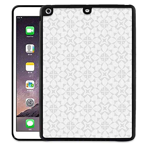 (iPad Air [2013]   iPad 5 (2013) [9.7 Inch] Pad Case Geometric Soft Greyscale Kaleidoscopic Geometrical Forms Bicolored and Faded Style Pale Grey and White )