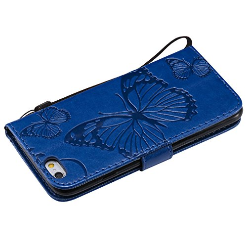 Papillons 6 Protection 6S par LOKTU214 Portefeuille Porte Apple Housse iPhone6S 7 Fermeture Anti Cuir iPhone Lomogo Etui de iPhone6 Bleu avec iPhone Aimant pour Pouces 4 Choc Carte Coque Rabat en 5t1Xq