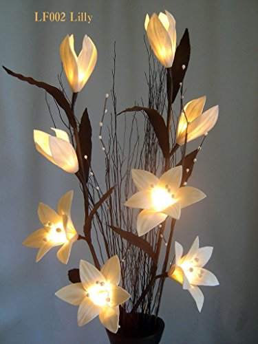 Ayutthaya Shop Light Floral Craft Lighted White Lilly Flowers Branch with 8 Lights, 39 Inch ( NOT INCLUDE FLOWER VASE (Hibiscus Flower Pinata)