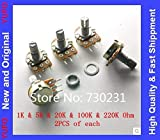 Isali Electronic - 10pcs Potentiometer 1K Ohm 5K Ohm 20K Ohm 100K Ohm 220K Ohm Assortment Kit Each of 2 PCS