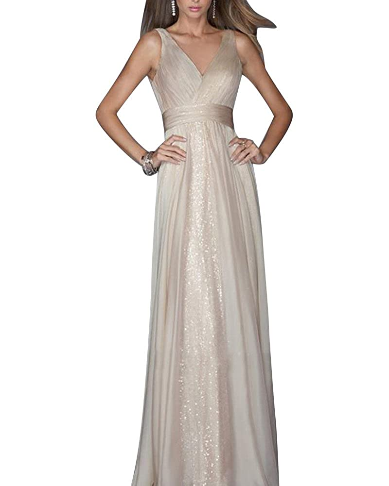 Womens V Collar Solid Color Backless Slim Fit Waist Gauze Evening Dress: Amazon.co.uk: Clothing