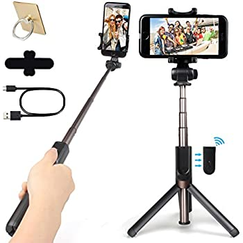 Selfie Stick, Bluetooth Monopod with Integrated Tripod Stand and Rechargeable Bluetooth Remote Control, Adjustable Extendable Aluminum Alloy, Vertical & Horizontal Phone Holder for iPhone, Android