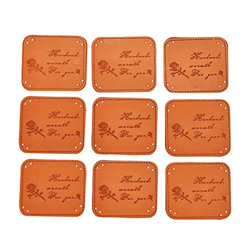 10PCs Rose Handmade PU Leather Garment Lables Apparel Accessories 100% Woven Sewing Labels,5×1.5cm