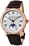 Frederique Constant Moonphase Automatic Classics Mens Plated Rose Gold Watch - Silver Face Brown Leather Band Swiss Automatic Moon Phase Watch For Men FC-715MC4H4