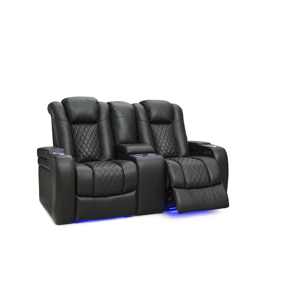 Seatcraft Anthem Home Theater Seating Leather Power Recline Loveseat with Center Storage Console, Powered Headrests, Storage, and Cupholders (Black)