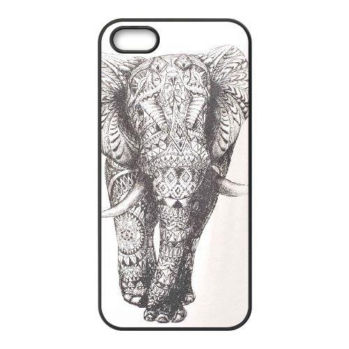 Elephant Drawing Ethnic Pattern Art 002 coque iPhone 4 4S cellulaire cas coque de téléphone cas téléphone cellulaire noir couvercle EEEXLKNBC24806