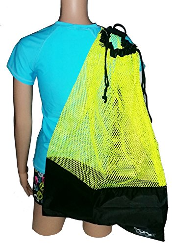 Swim Scuba (Mesh Draw String with Shoulder Strap Bag for Scuba, Snorkel, Boat, Swim (Yellow - Black Mesh))