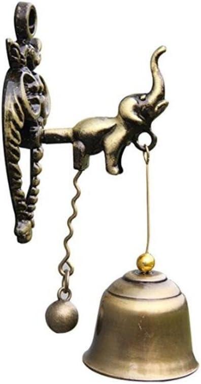 MUAMAX Antique/Vintage Lucky Elephant Doorbell Shopkeeper Store Bell Wall Hanging Suction Dinner Bell Garden Bell(Small)