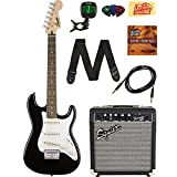 Squier by Fender Stratocaster Pack with Frontman 10G Amp, Cable, Strap, Picks, and Online Lessons - Black Bundle with Austin Bazaar Instructional DVD