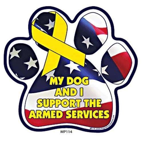 My Dog And I Support The ARMED SERVICES Paw Support Ribbon Car & Truck Magnet by Magnetic Pedigrees