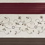 Madison Park Serene Flora Fabric Shower Curtain, mbroidered Transitional Shower Curtains for Bathroom, 72 X 72, Red