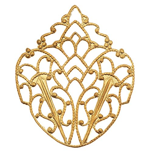 Vintaj Vogue Embellishments, Delicate Filigree Crest 33x28mm, 1 Piece, Raw ()