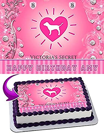 Love Pink Victorias Secret Edible Cake Topper Personalized Birthday 1 2 Size Sheet Decoration Party