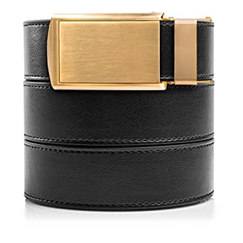 "SlideBelts Men's Vegan Leather Belt without Holes - Brushed Gold Buckle / Black Leather (Trim-to-fit: Up to 48"" Waist)…"