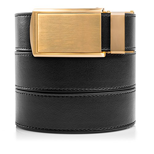 SlideBelts Men's Vegan Leather Belt without Holes - Brushed Gold Buckle/Black Leather (Trim-to-fit: Up to 48
