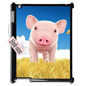 Unique Design Case for iPad 2,iPad 3,iPad 4 w/ Cute pig emoji image at Hmh-xase (style 4)