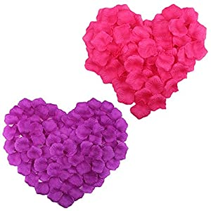 COSMOS 1000 Pcs Artificial Flower Rose Petals Wedding Party Decoration Confetti, Hot Pink and Purple 1