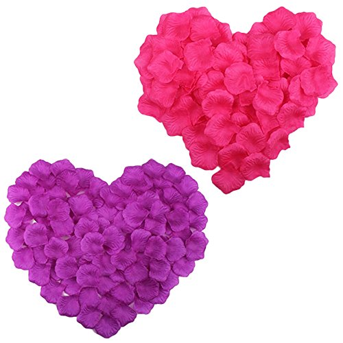 COSMOS 1000 Pcs Artificial Flower Rose Petals Wedding Party Decoration Confetti, Hot Pink and Purple ()