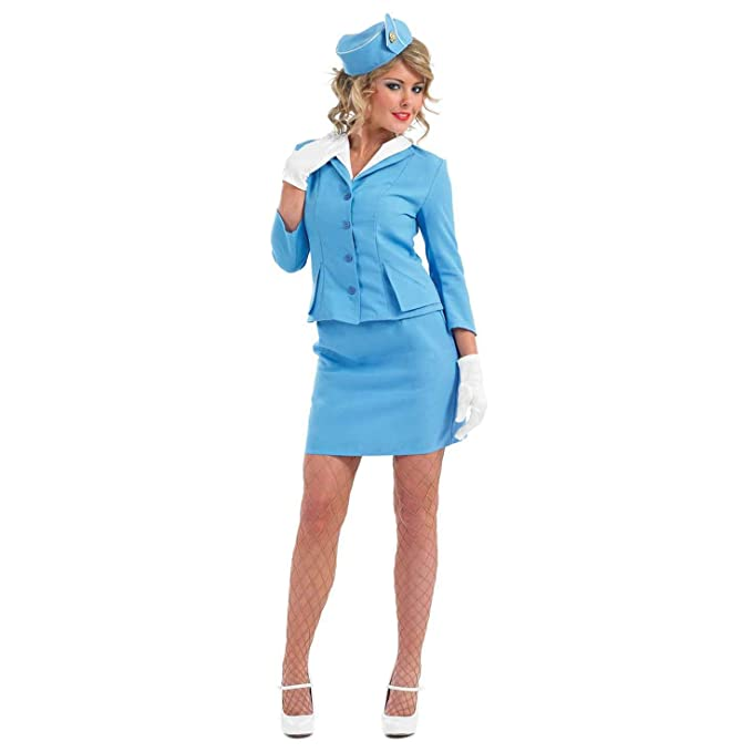 60s Costumes: Hippie, Go Go Dancer, Flower Child, Mod Style fun shack Womens Cabin Crew-Blue $27.99 AT vintagedancer.com