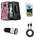Moto E4 - Accessory Bundle: (Pink Hunter Camo) Dual Layer Armor Detachable Kickstand Holster Case, Glass Screen Protector, CyonGear 10W Dual Car Charger with Micro USB Cable [4 ft.], Atom LED