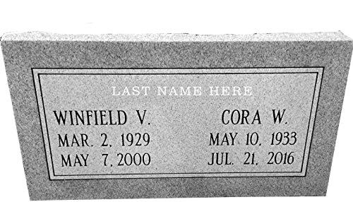 """Granite Headstone 24""""x12""""x4"""" Companion Double"""