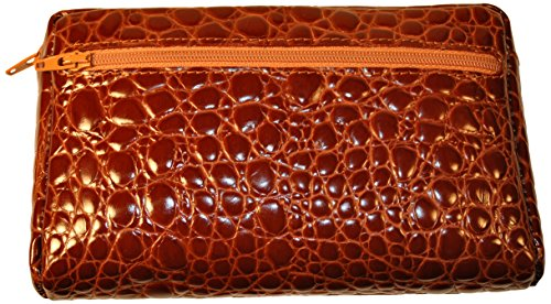 Budd Leather Croco Bidente Cosmetic Case, Cognac by Budd Leather