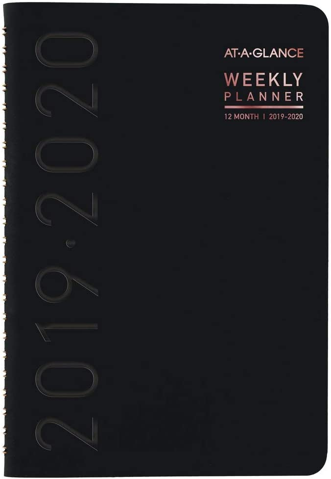 "AT-A-GLANCE 2019-2020 Academic Year Weekly & Monthly Planner, Small, 5"" x 8"", Contempo, Black (70101X05)"