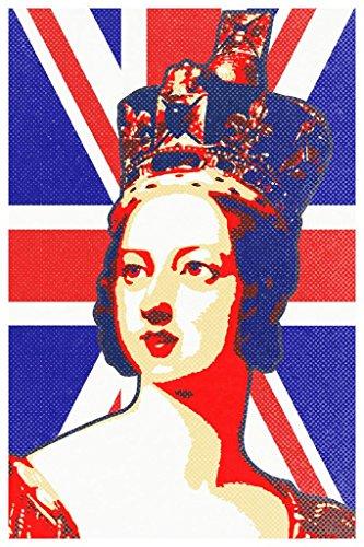 Queen Victoria Union Jack Flag Pop Art Print Poster 24x36 inch