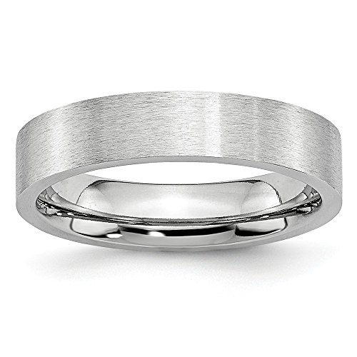 White Cobalt Wedding Band Ring Standard Flat Brushed 5 mm Flat Satin -